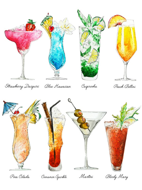 cocktails art print summer drinks with names colorful On cool alcoholic drink names