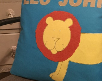 "Leo the Lion cushion (14x14"")"