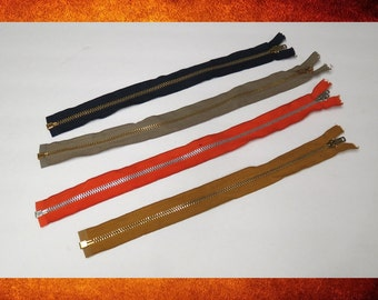 """BIG SALE Zipper, Vintage - 4 Metal Zippers in Assorted Colors. 14-16"""" Long. Heavy duty type for jackets, purse bags, and crafts. ZIP-003"""