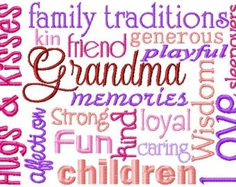 Grandma Word Block ~ Subway Art Machine Embroidery Design INSTANT DOWNLOAD