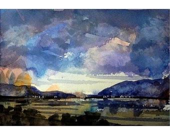 Dusk Bay, Original Watercolor
