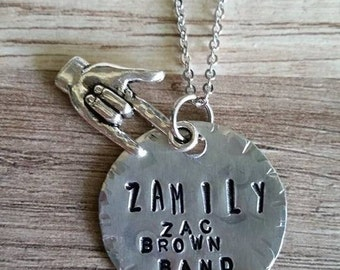 """Inspired by The Zac Brown Band,""""Zamily"""", silver on silver, necklace line"""