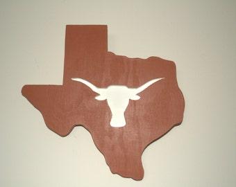 Texas Longhorns, wooden sign, college logo