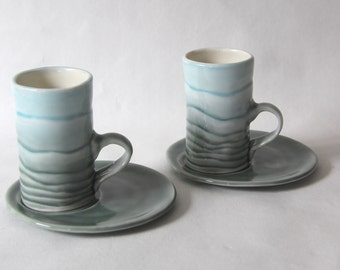 Porcelain mountain espresso cup set - ceramic coffee cup and saucer set in carved porcelain - blue grey cups  by Curve Ceramics