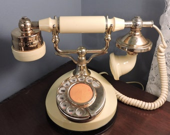 French Victorian Style Rotary Yellow Telephone