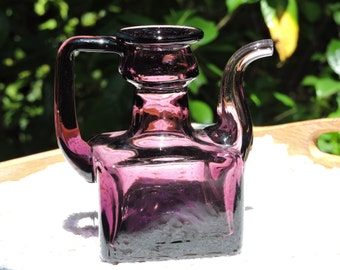 Deep Amethyst Purple Vintage Glass Bottle Cruet Vase Pourer Spout
