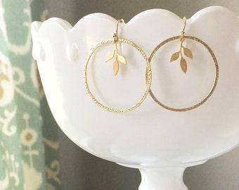 Gold Leaf Earrings | Gold Circle Earrings |Leaf Earrings Gold | Circle + Leaf Earrings Gold | Simple Earrings | Spring Earrings | Olive