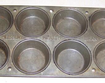 Vintage Pillsbury Health Bran Advertising 8 Cup Muffin Tin - Kitchen and Dining - Bakeware - Muffin & Cupcake Tins