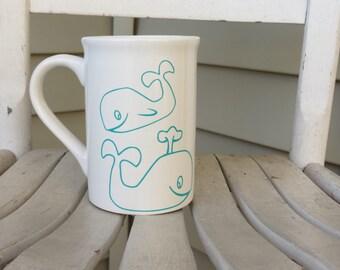 Whale mug in Teal or Mint