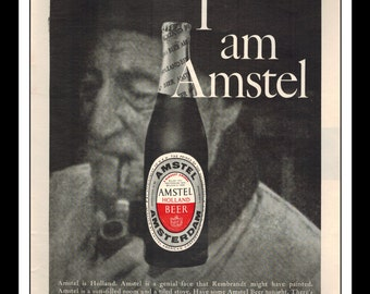 "Vintage Print Ad June 1962 : Amstel Holland Beer ""I am Amstel"" Liquor Wall Art Decor 8.5"" x 11"" Advertisement"