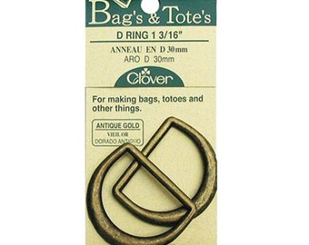 Metal D-Rings Antique Gold 1-3/16 Clover ~ Item 6182