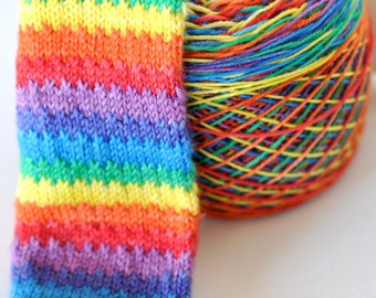 Hand Dyed Self Striping Yarn - Somewhere Over The Rainbow