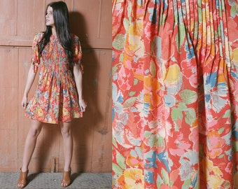 Sale 20% Off VTG 1980's Floral Summer Mini Dress - S