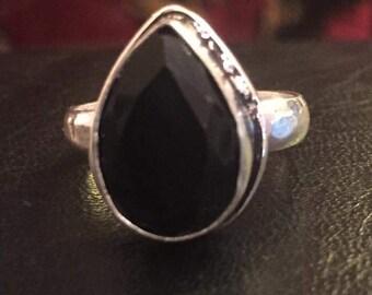 Onyx black silver ring size o us 7