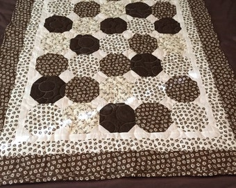 Vintage Brown and Cream Hexagon Lap Quilt