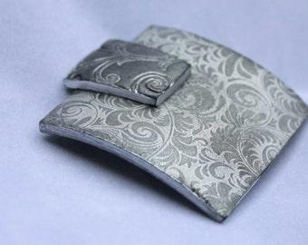 Brooch, Polymer Clay Etched Silver Brooch, Fashion Jewelry