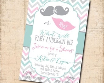 He or She Baby Shower Invitation printable/Gender Reveal/lips, mustache, blue, pink, digital/wording can be changed