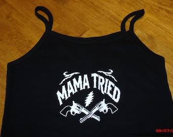 Grateful Dead/Merle Haggard ladies spag. strap tank top