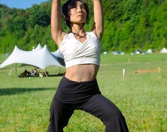 Custom Organic Cotton Yoga Pants - Black