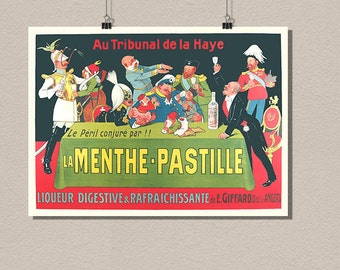 Liqueur La Menthe Pastille - Vintage Food Poster Advertising Retro Drinks Kitchen wall decor Design Art Print Quality Home Wall Decor France