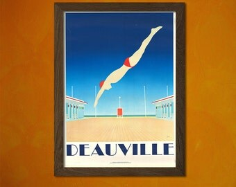 Deauville France Poster - Vintage Tourism Travel Poster Advertising Retro Wall Decor Office decoration  t
