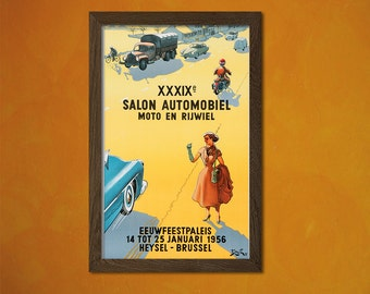 Car Show Exhibition Brussels  Poster 1956  - Vintage Poster Advertising Retro Wall Decor Office decoration  t