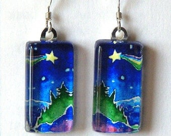 Wishing Star Art Earrings/ Glass Jewelry for Nature and Forest Lovers by Susan Faye