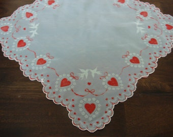 "Vintage Handkerchief with Flocked Red Hearts and Ribbons, Doves/Love birds, Scalloped edge, 13 1/2"" square"