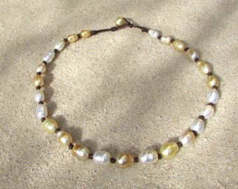 golden white south sea pearls necklace leather