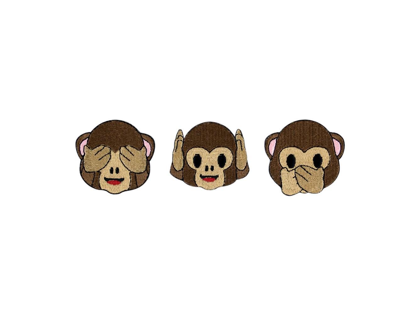 Three wise monkeys wooden ornaments - See No Evil Hear No Evil Or Speak No Evil Monkey Emoji Embroidered Iron