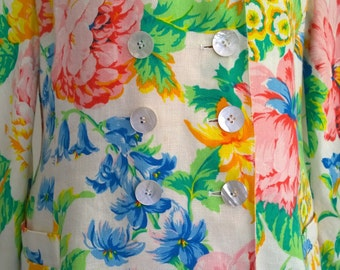 GENNY Made in Italy Vintage c.80s jacket/Beautiful GENNY summer flowers flax jacket/GENNY lovely floral motive jacket/Vintage fashion jacket