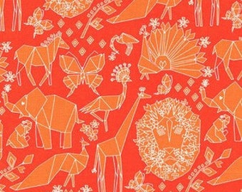 Orange Lion Fabric by Michael Miller - Origami Oasis - Lion Fold in Clementine by Tamara Kate - Fabric by the Half Yard
