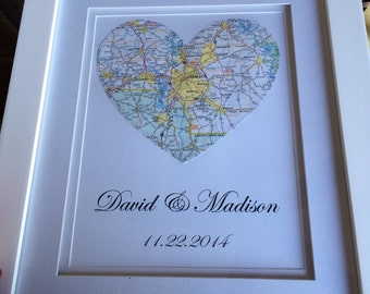 Personalized Map Art, Wedding / Engagement Gift -FRAMED