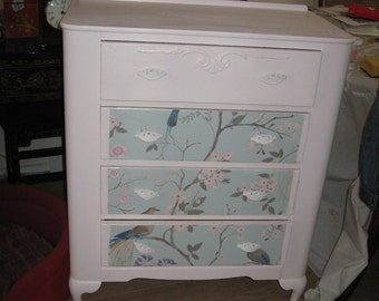 SOLD SOLD SOLD shabby chic chest of drawers . matching dressing table also available.