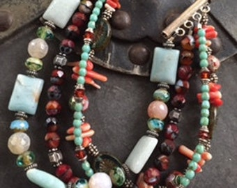 4 Strand Multi Bead Bracelet