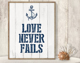 Love Never Fails // Romantic Wedding Sign DIY // Nautical Sign, Navy Anchor Printable PDF // Nautical Planks ▷ Instant Download