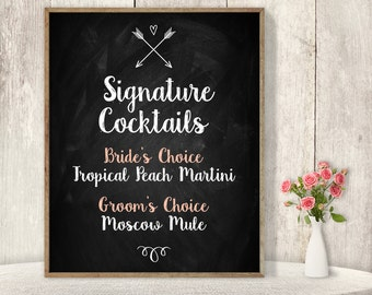 Signature Cocktail Sign / Wedding Bar / Rustic Chalkboard, Whimsical Arrow, Heart, Chalk Lettering ▷ Printable File {or} Printed & Shipped