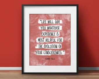 Spiritual art, Eckhart Tolle (VARIOUS COLORS!!), Words of wisdom, Typographic Print, Mindfulness Gift, Watercolor Poster