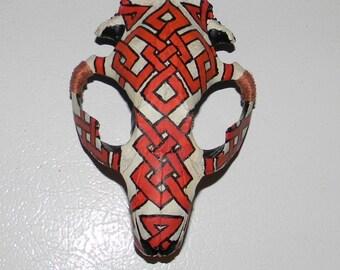 Painted Celtic Beaver Skull