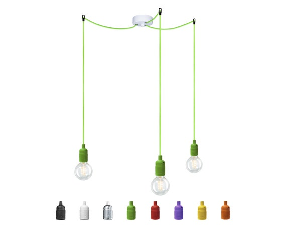 Lampe suspension ampoule attaque uno s3 avec douilles e27 etsy - Lampe suspension ampoule ...