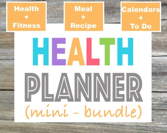 Fitness Planner, Health Planner Mini Bundle, Weekly Fitness, Weekly Meal Planner, Diet Planner - From the Luminous Collection - 3 Items