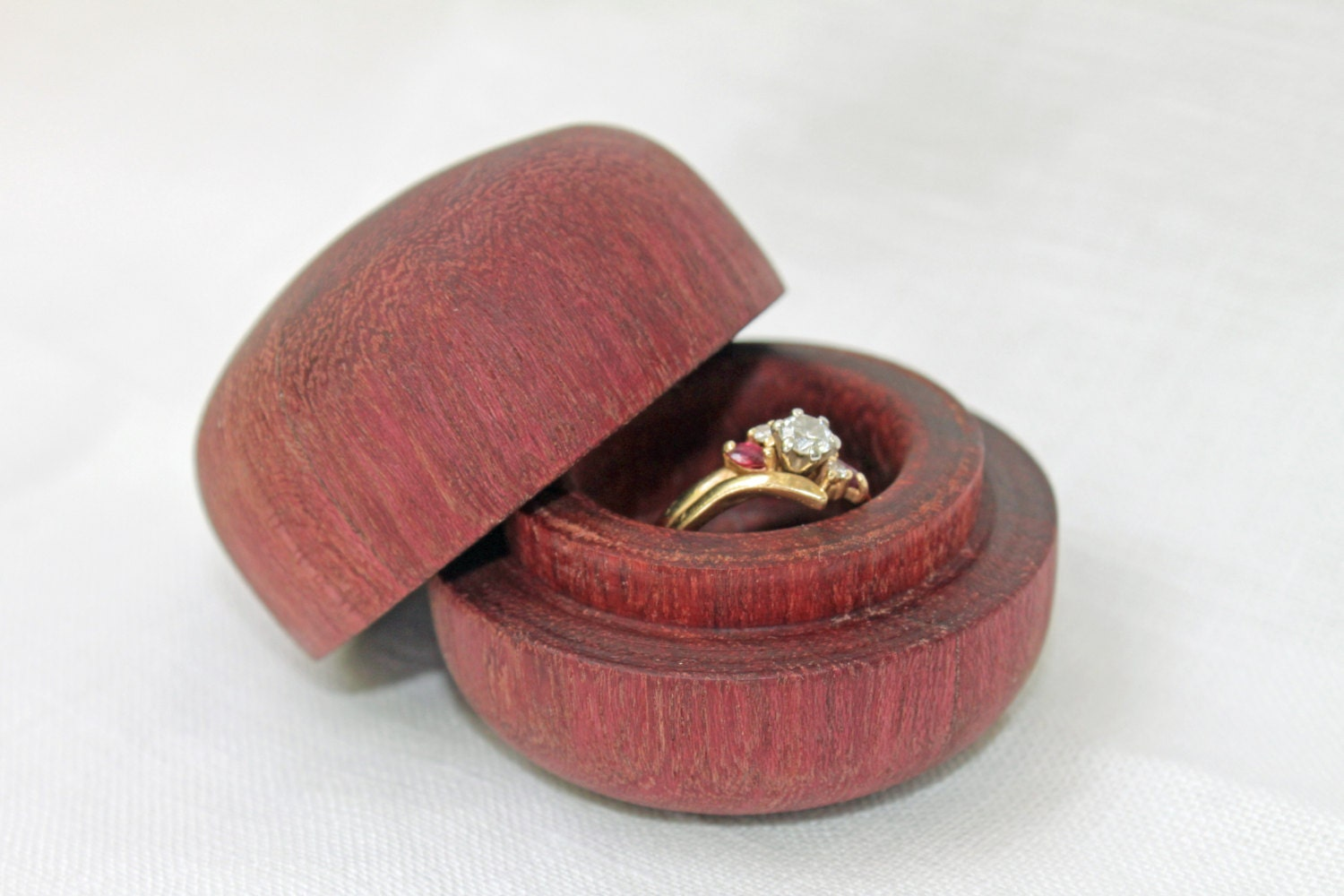 Purple heart wood ring box engagement ring box jewelry box for Wooden ring box