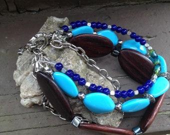 Shades of blue multistrand beaded bracelet