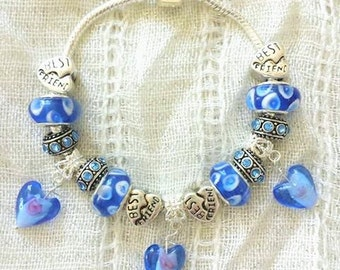 Best Friend Blue Glass Lampwork Heart Charms Silver Plated Bracelet 7.5 Inches