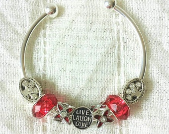 Live Laugh Love Charm Rhinestone Tree Of Life Silver Plated Bangle Bracelet 7.5 Inches