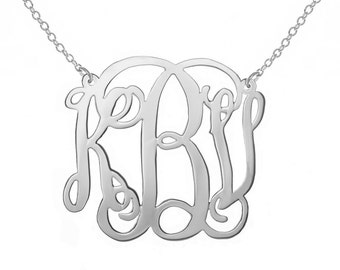 SALE Silver 2 inch Monogram Necklace Personalized Monogram choose any initial 925 sterling silver