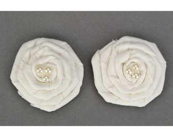 Fabric Roses Fabric Flowers Wedding Roses Wedding materials Rolled Fabric Roses French Rosettes Scrapbook Embellishment, Wholesale
