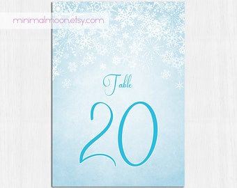 Winter Wedding Table Numbers, winter table numbers, Printable table cards, blue, snowflake, Digital file, wedding table number, sparkly