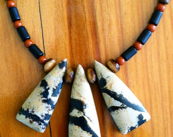 Jasper Triple Pendant Necklace