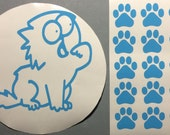 cat decal sticker for gas tank door with 15 paw prints